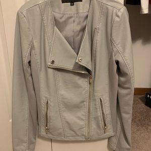 BRAND NEW grey leather jacket